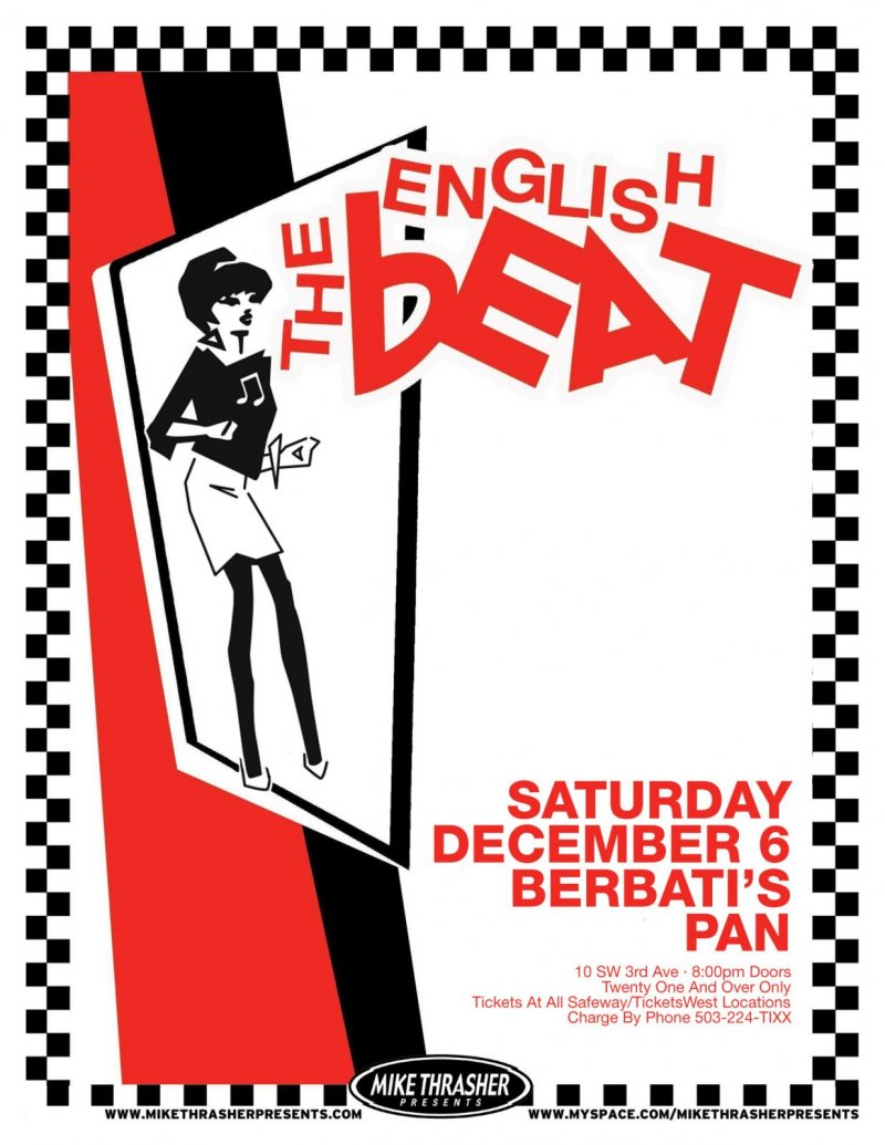 Image 0 of ENGLISH BEAT 2008 Gig POSTER Portland Oregon Concert