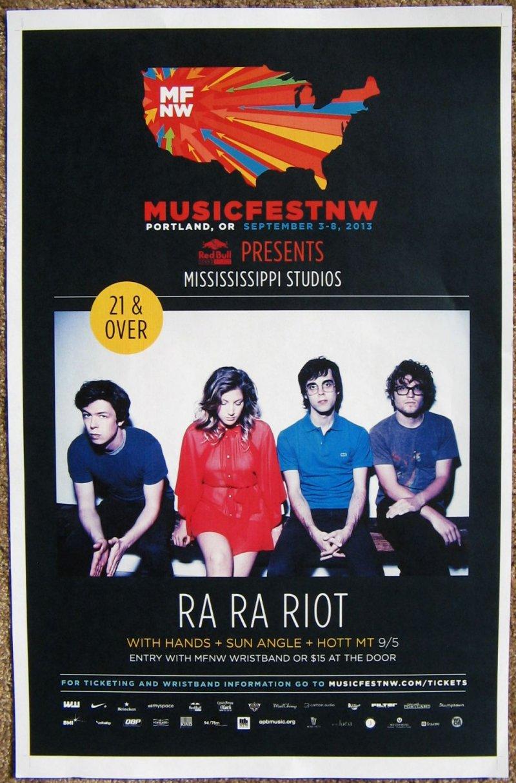 RA RA RIOT 2013 Gig POSTER MFNW Portland Oregon Musicfest NW Concert