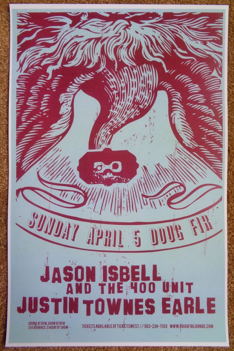 Image 0 of Isbell JASON ISBELL Drive-By Truckers Gig POSTER 2009 Portland Oregon Concert