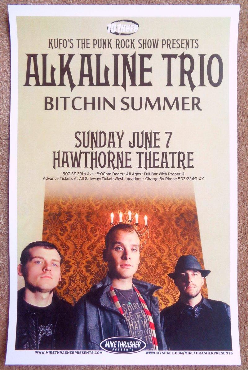 Image 0 of ALKALINE TRIO 2009 Gig POSTER Portland Oregon Concert