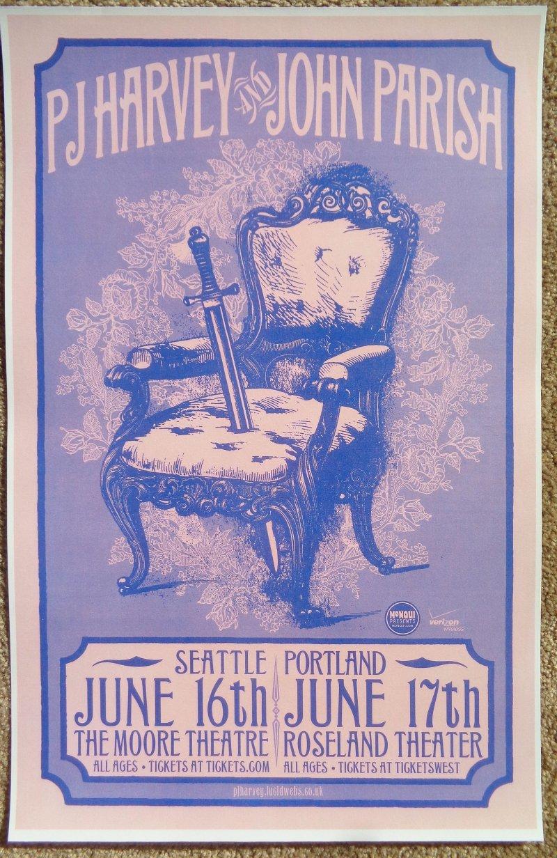 Image 0 of Harvey PJ HARVEY and JOHN PARISH 2009 Gig POSTER Seattle & Portland Concert