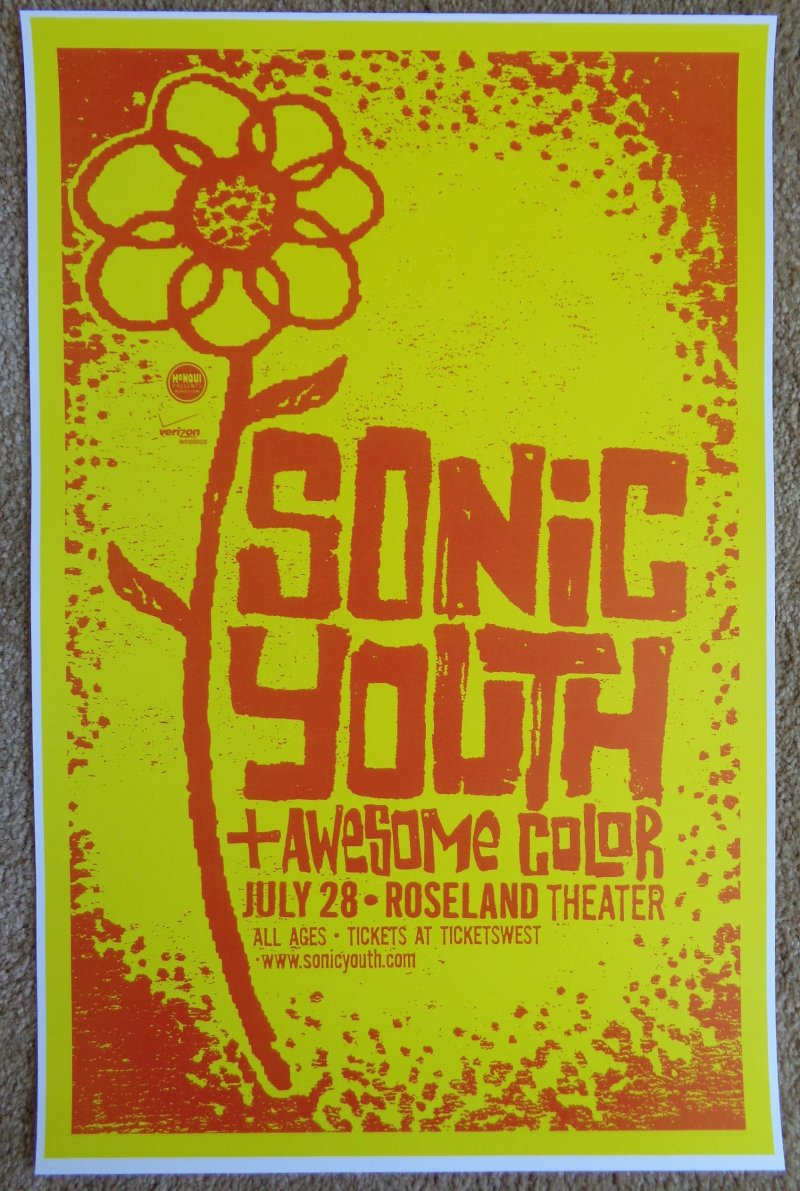 Image 0 of SONIC YOUTH 2009 Gig POSTER Portland Oregon Concert