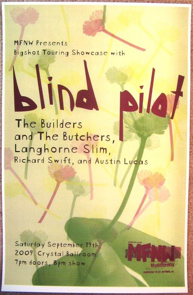 Image 0 of BLIND PILOT MFNW Gig POSTER Sep 2009 Portland Oregon Musicfest NW Concert Ver. 1