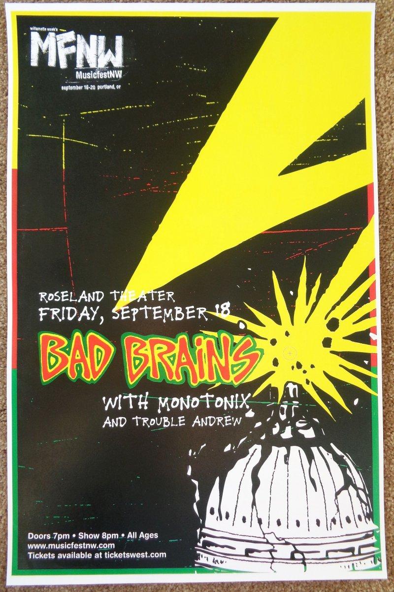 Image 0 of BAD BRAINS 2009 Gig POSTER Portland Oregon Concert MFNW Musicfest NW Fest