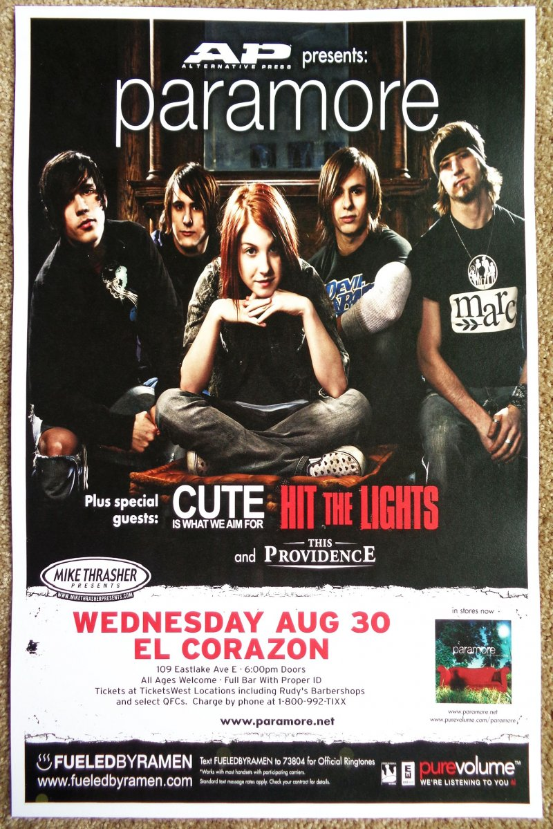 Image 0 of PARAMORE Hayley Williams (17 yrs old) POSTER 2006 Seattle WA. Gig Concert