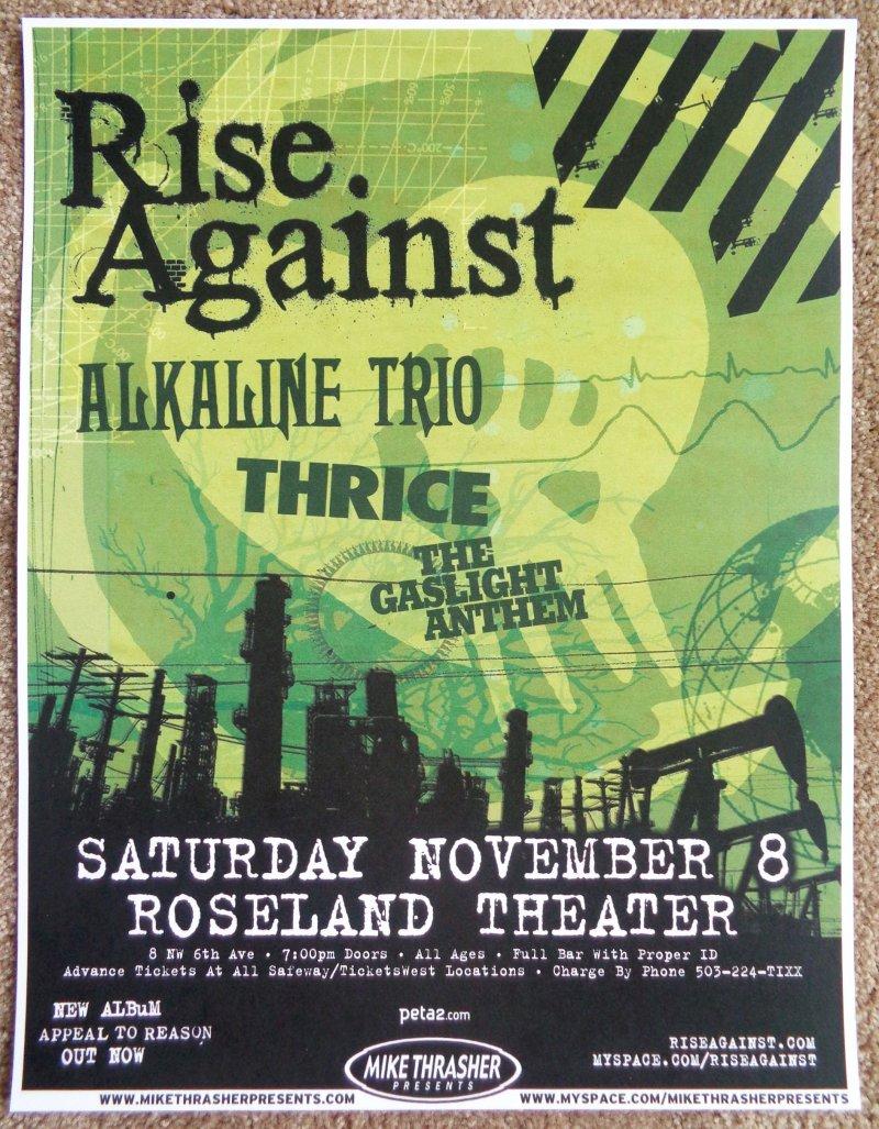Image 0 of RISE AGAINST 2008 Gig POSTER Portland Oregon Concert