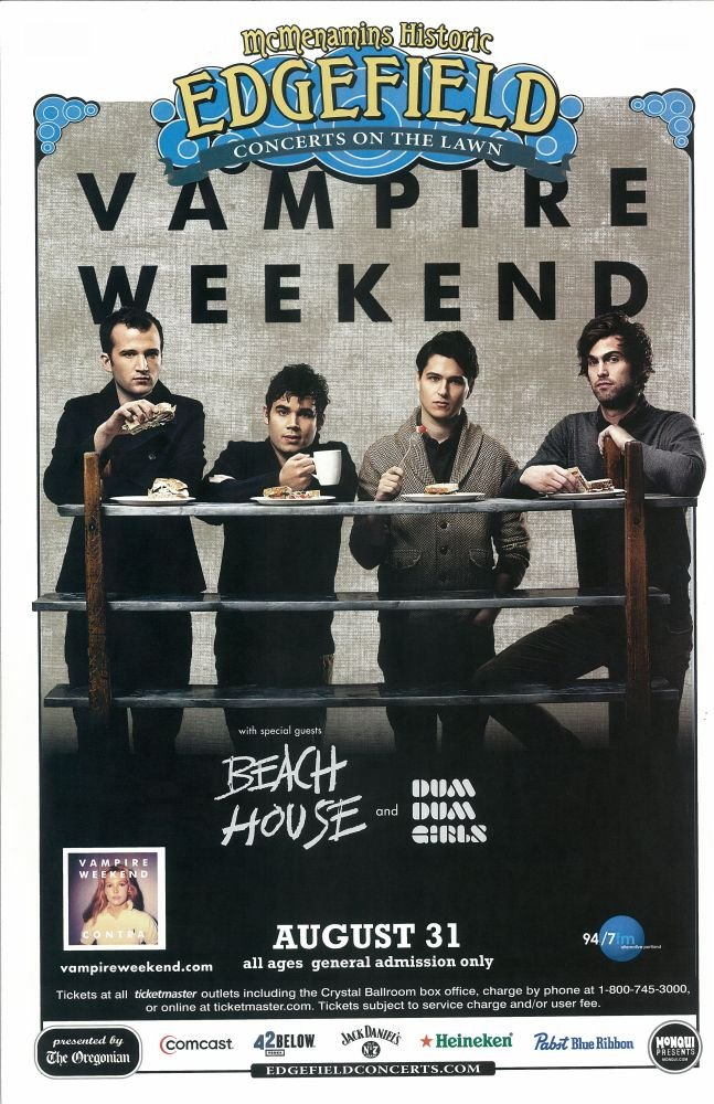 Image 0 of VAMPIRE WEEKEND 2010 Gig POSTER Edgefield Portland Oregon Concert