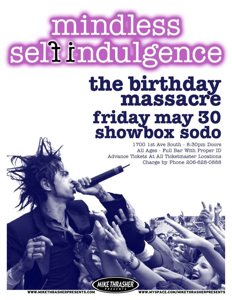 Image 0 of MINDLESS SELF INDULGENCE 2008 Gig POSTER Seattle Washington Concert
