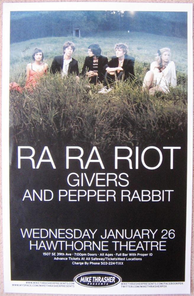 RA RA RIOT 2011 Gig POSTER Portland Oregon Concert