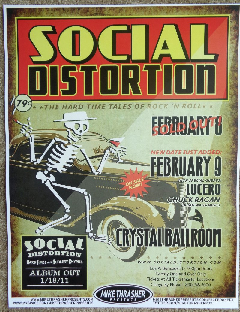 Image 0 of SOCIAL DISTORTION 2011 Gig POSTER Portland Oregon Concert