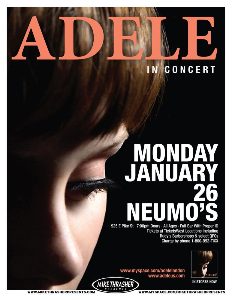 ADELE 2009 Gig POSTER Seattle Washington Concert Laurie Blue Adkins