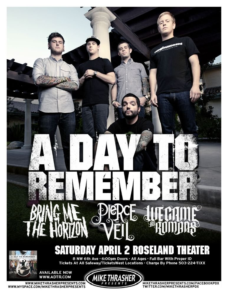 Image 0 of A DAY TO REMEMBER 2011 Gig POSTER Portland Oregon Concert
