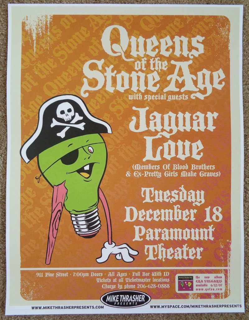 Image 0 of QUEENS OF THE STONE AGE 2007 Gig POSTER Seattle Washington Concert