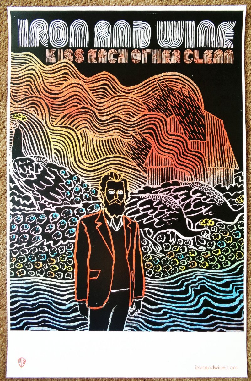 Image 0 of IRON AND WINE Sam Beam POSTER Kiss Each Other Clean Album 11x17