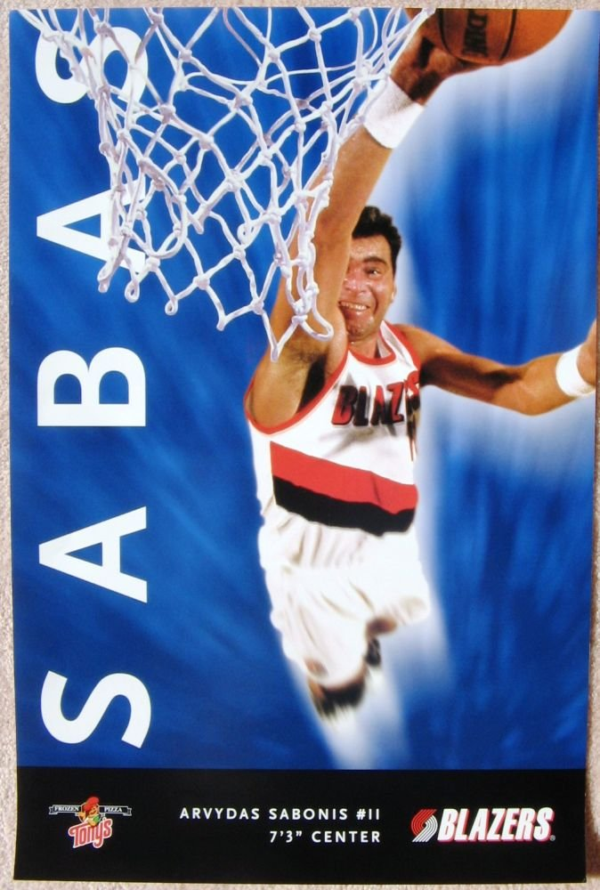 Sabonis ARVYDAS SABONIS POSTER Portland Trailblazers 1997 8 Blazers Game Handout