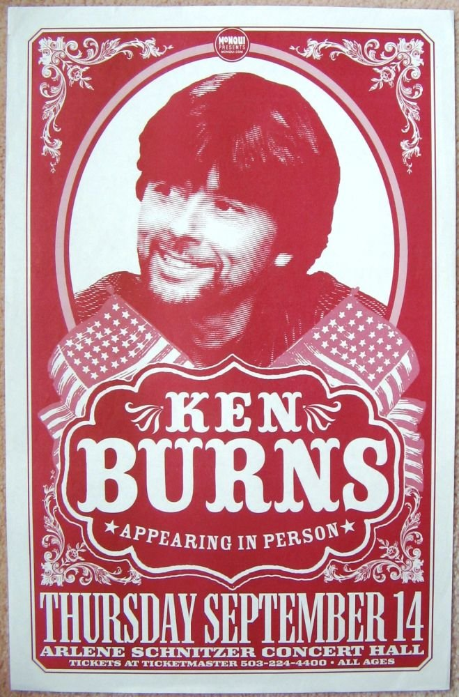 Burns KEN BURNS Portland Oregon 2006 Gig Show POSTER