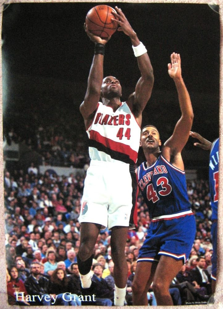 Image 0 of Grant HARVEY GRANT Portland Blazers 1990s Game Handout POSTER Trailblazers