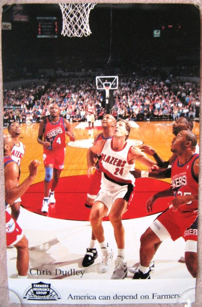 Dudley CHRIS DUDLEY 1990s Game Handout POSTER Portland Blazers Trailblazers