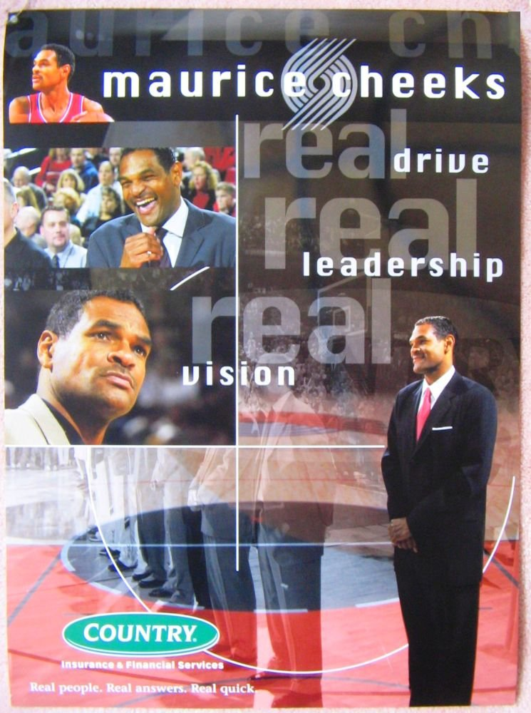 Image 0 of Cheeks MAURICE CHEEKS Portland Blazers 1990s Game Handout POSTER Trailblazers