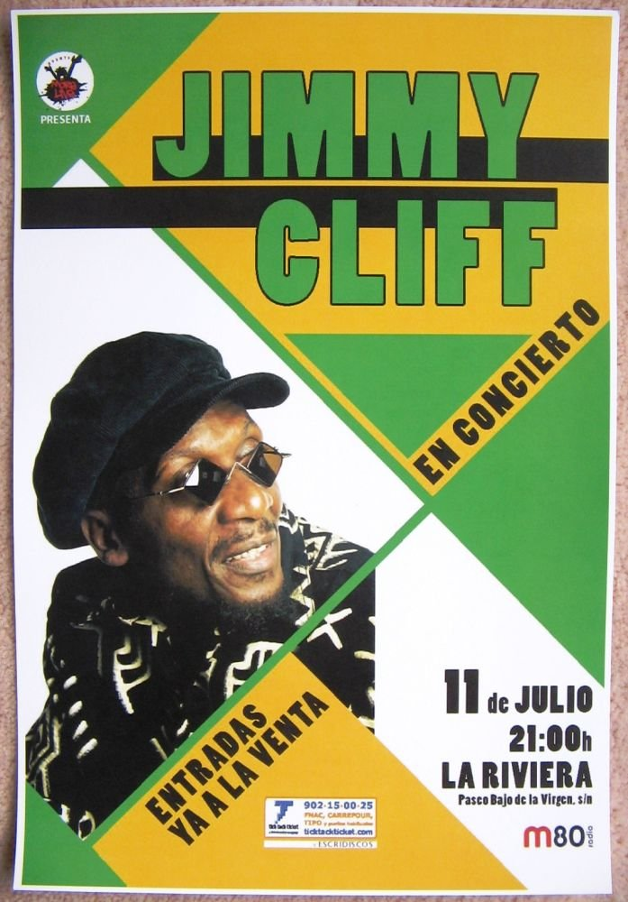 Image 0 of Cliff JIMMY CLIFF 2008 POSTER Gig Madrid Spain Concert Reggae
