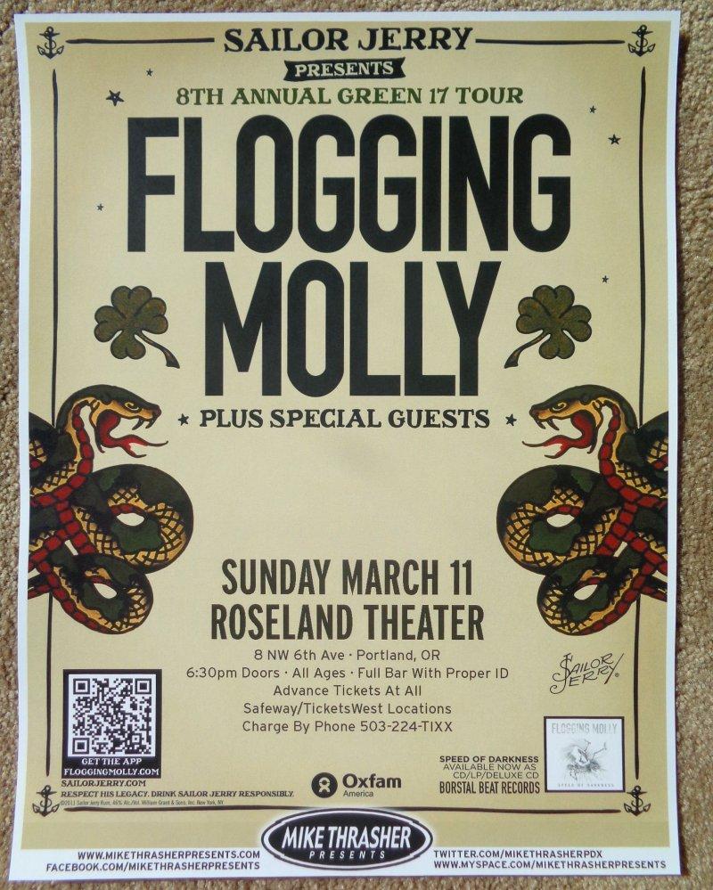 Image 0 of FLOGGING MOLLY Portland Oregon 2012 Gig Concert POSTER