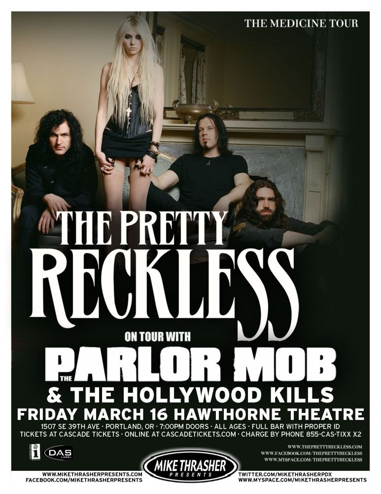 Image 0 of PRETTY RECKLESS Taylor Momsen Gig POSTER 2012 Concert Portland Oregon