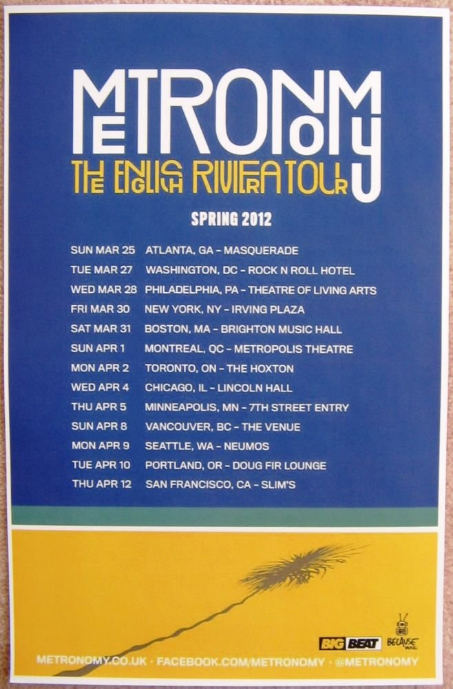 Image 0 of METRONOMY 2012 North America Tour POSTER Gig Concert