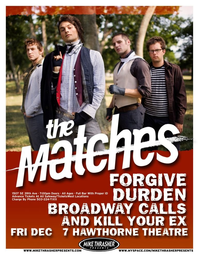 Image 0 of Matches THE MATCHES December 2007 Gig POSTER Portland Oregon Concert