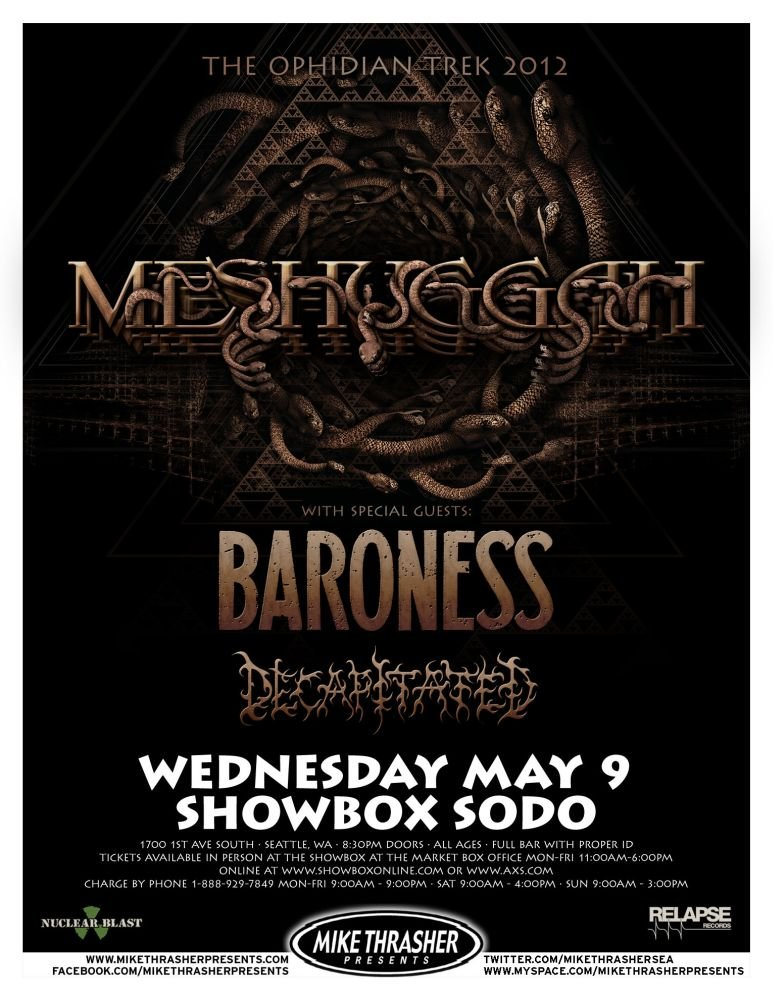 Image 0 of MESHUGGAH 2012 Gig POSTER Seattle Washington Concert
