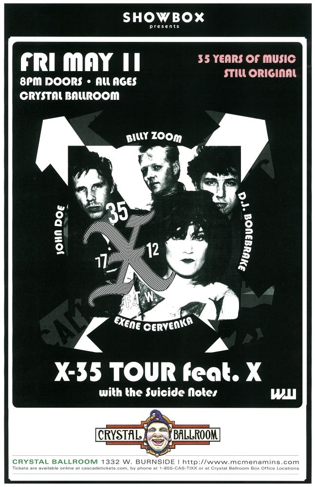 Image 0 of X Band POSTER 35th Anniversary JOHN DOE / EXENE / BONEBRAKE Oregon 2012 Concert