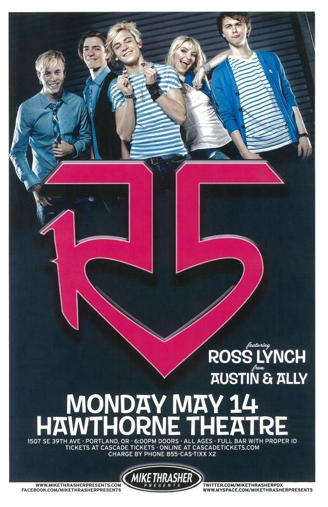 R5 2012 Gig POSTER Ross Lynch Austin & Ally Portland Oregon Concert