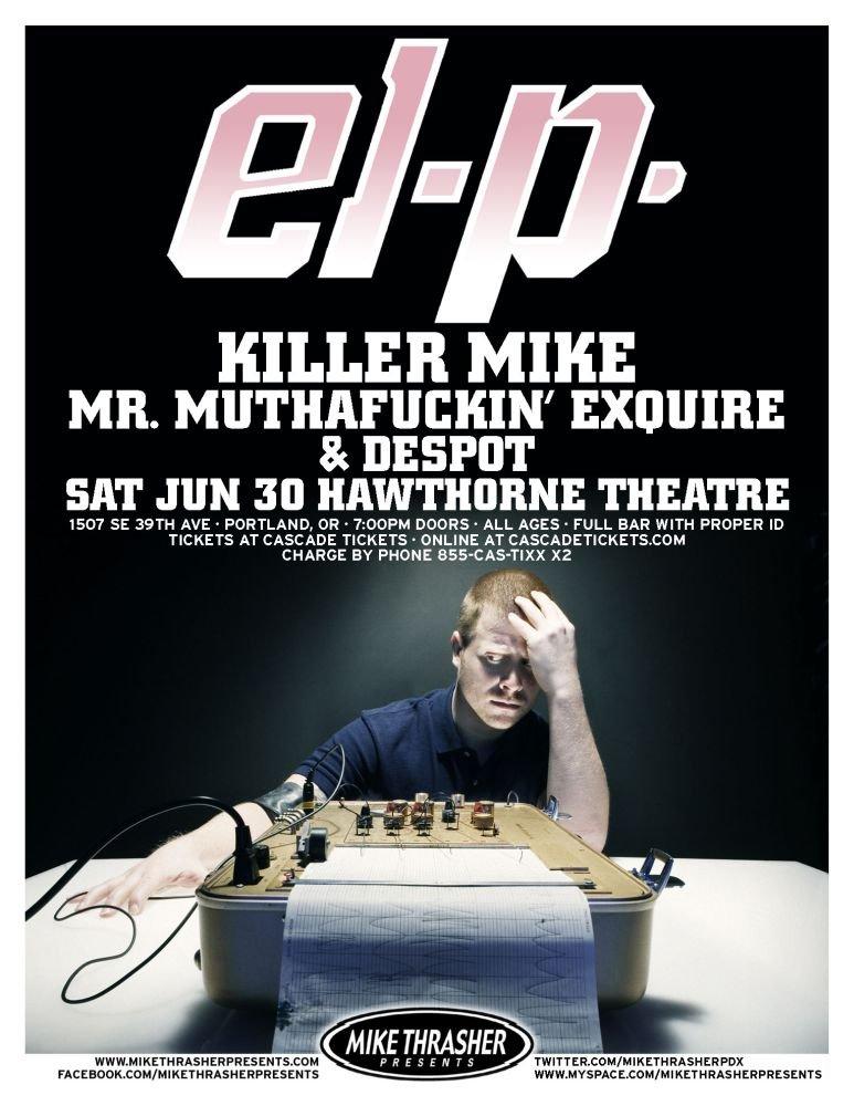 Image 0 of EL-P 2012 Gig POSTER Portland Oregon Concert
