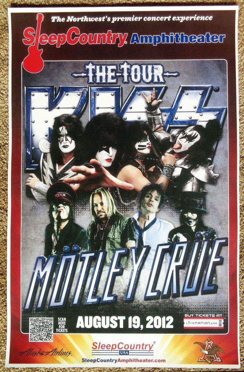 Image 0 of KISS & MOTLEY CRUE 2012 Gig POSTER Ridgefield Washington Gene Simmons Concert