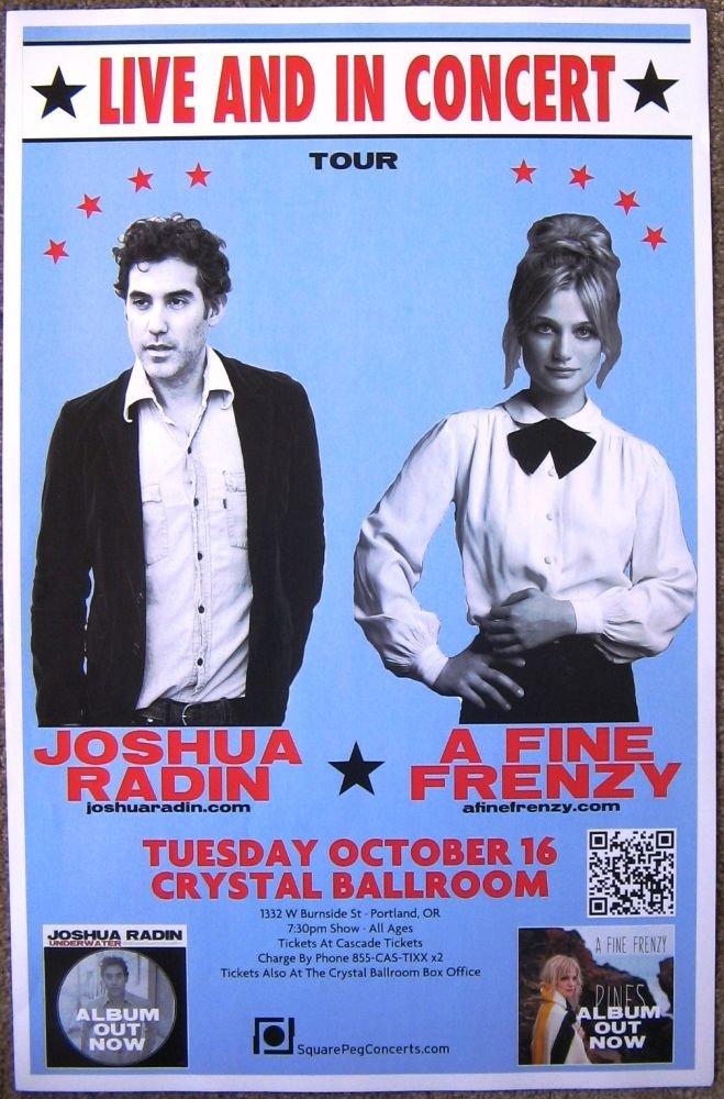 A FINE FRENZY & JOSHUA RADIN 2012 Gig POSTER Portland Oregon Concert
