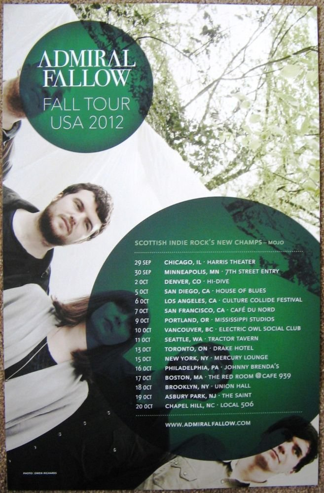 ADMIRAL FALLOW 2012 Gig POSTER Fall USA Tour Concert