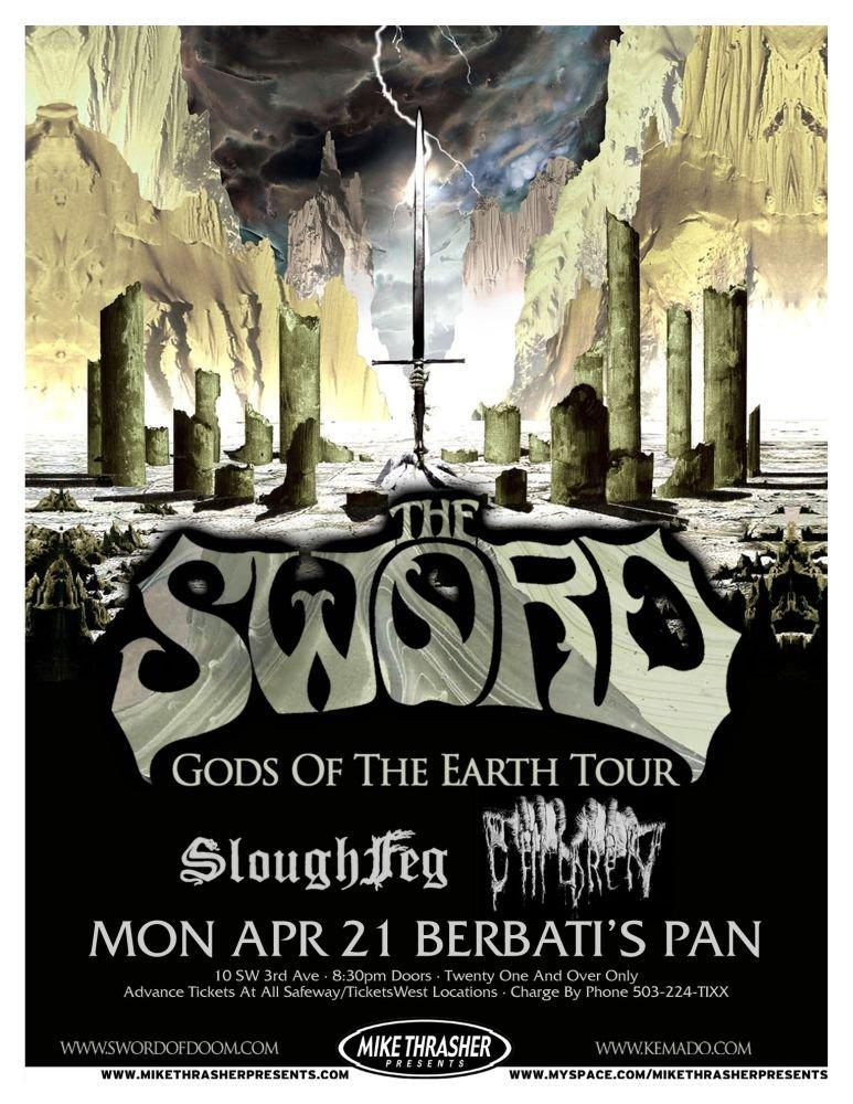 Image 0 of Sword THE SWORD 2008 Gig POSTER Gods Of The Earth Portland Oregon Concert