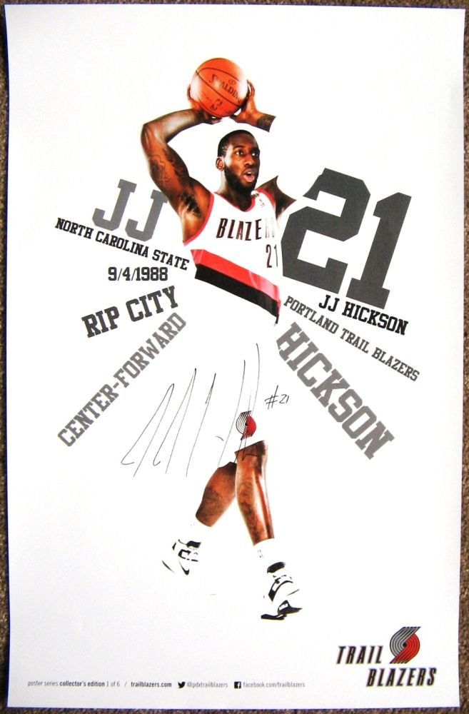 Hickson JJ HICKSON 2012 3 POSTER Portland Blazers Game Handout Trailblazers