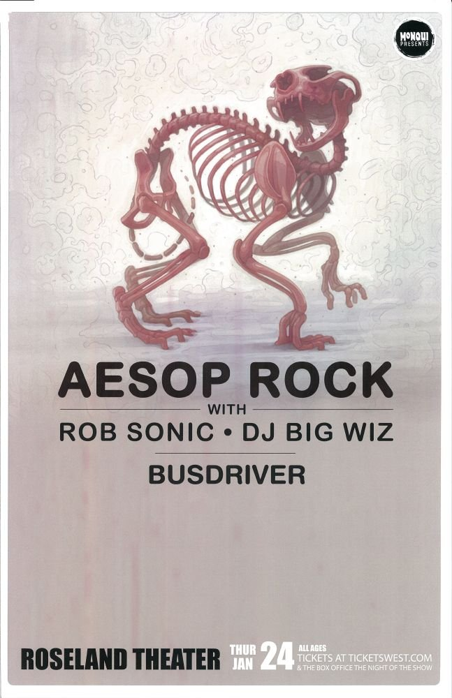 AESOP ROCK Gig POSTER 2013 Portland Oregon January Concert
