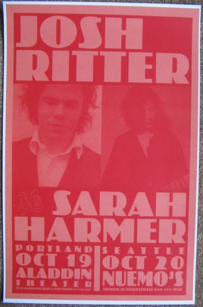 Image 0 of Ritter JOSH RITTER & SARAH HARMER 2004 POSTER Gig Concert Seattle & Portland OR.