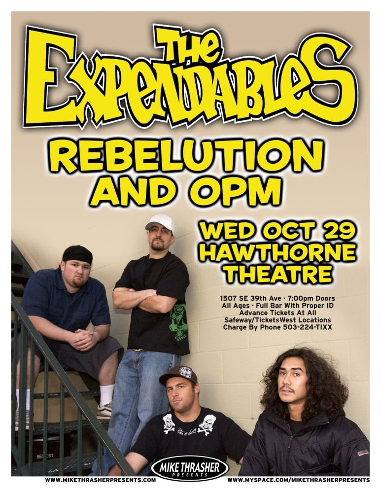 Expendables THE EXPENDABLES 2008 Gig POSTER Portland Oregon Concert Reggae