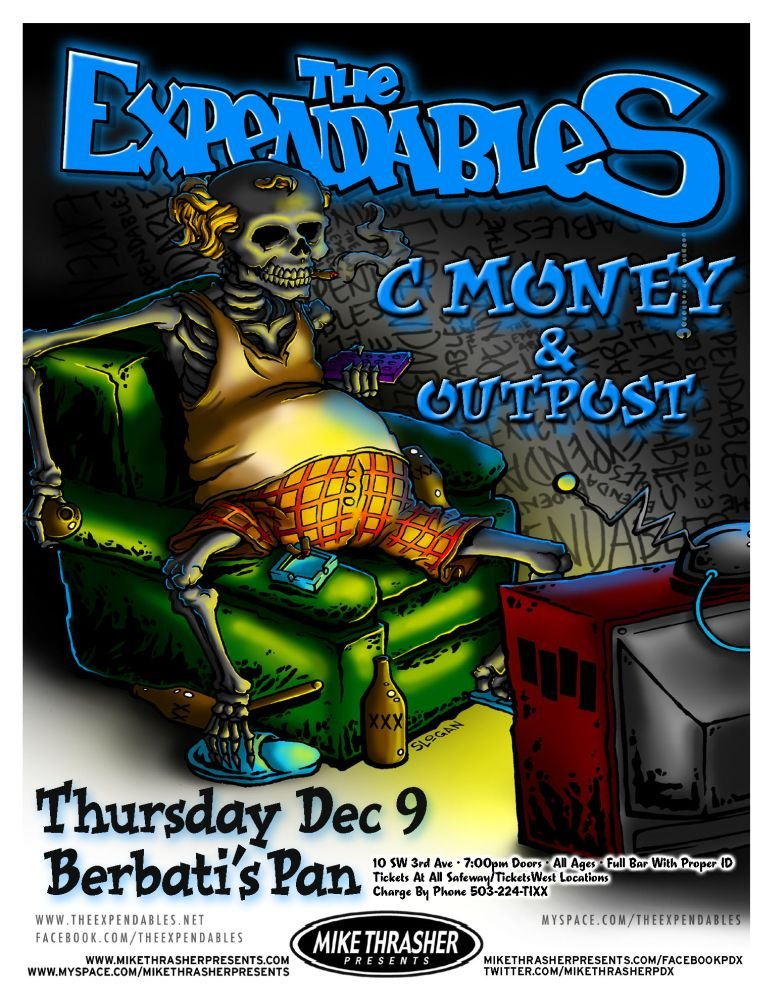 Expendables THE EXPENDABLES Gig POSTER Dec. 2010 Portland Oregon Concert Reggae