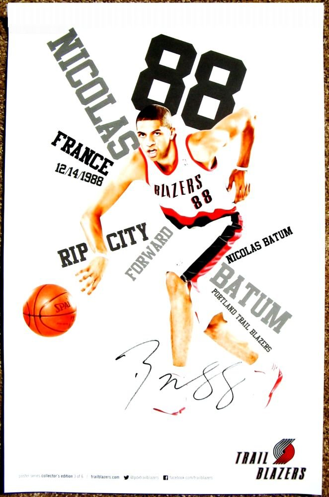 Batum NICOLAS BATUM 2012 3 POSTER Portland Blazers Game Handout Trailblazers