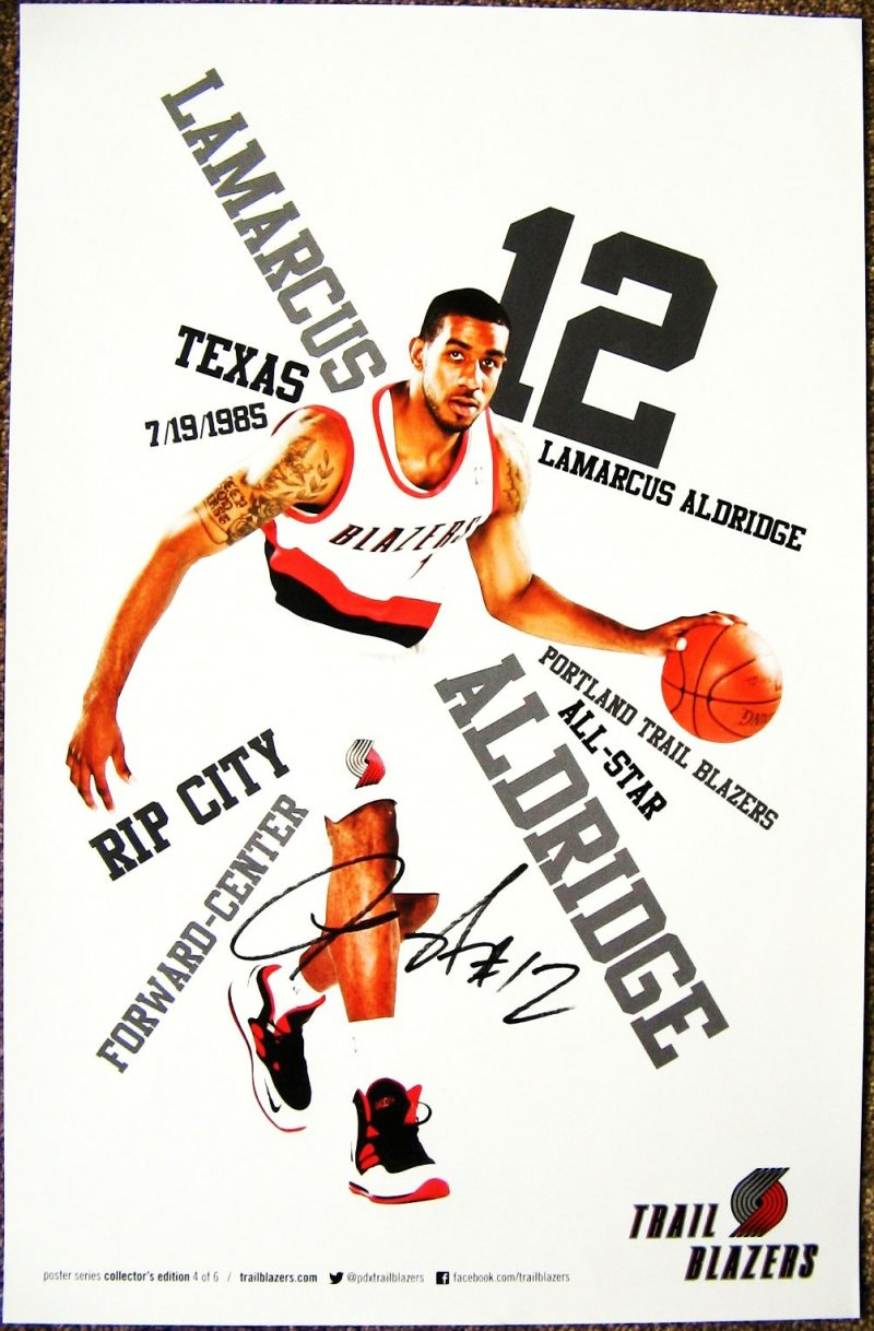 Aldridge LAMARCUS ALDRIDGE 2012 3 POSTER Portland Blazers Handout Trailblazers