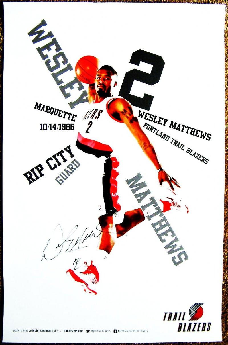 Matthews WESLEY MATTHEWS 2012-3 POSTER Portland Blazers Game Handout Trailblazer