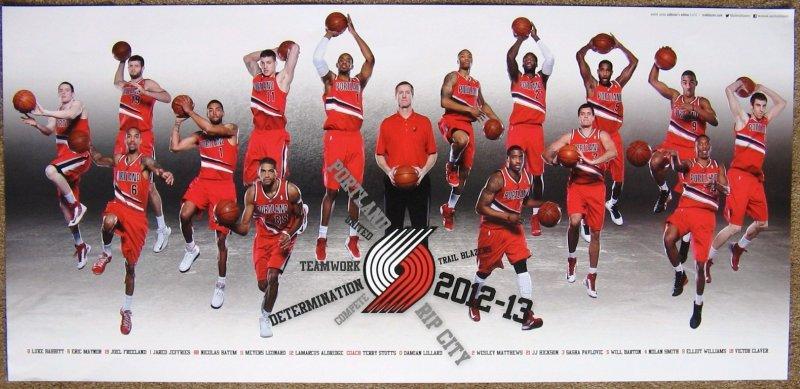 Portland Trailblazers 2012-13 Blazers Game Handout TEAM POSTER LaMarcus Lillard