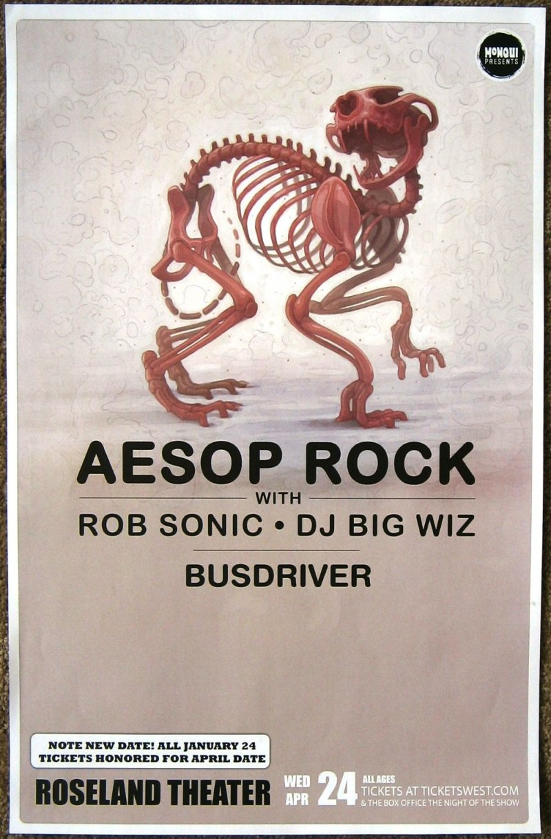 AESOP ROCK Gig POSTER 2013 Portland Oregon April Concert