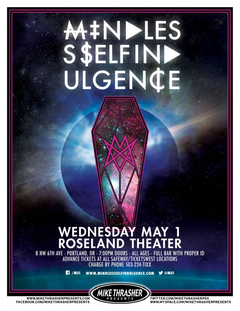 Image 0 of MINDLESS SELF INDULGENCE 2013 Gig POSTER Portland Oregon Concert