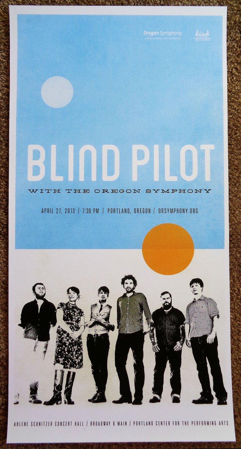 BLIND PILOT Gig POSTER 2013 OREGON SYMPHONY Portland Concert