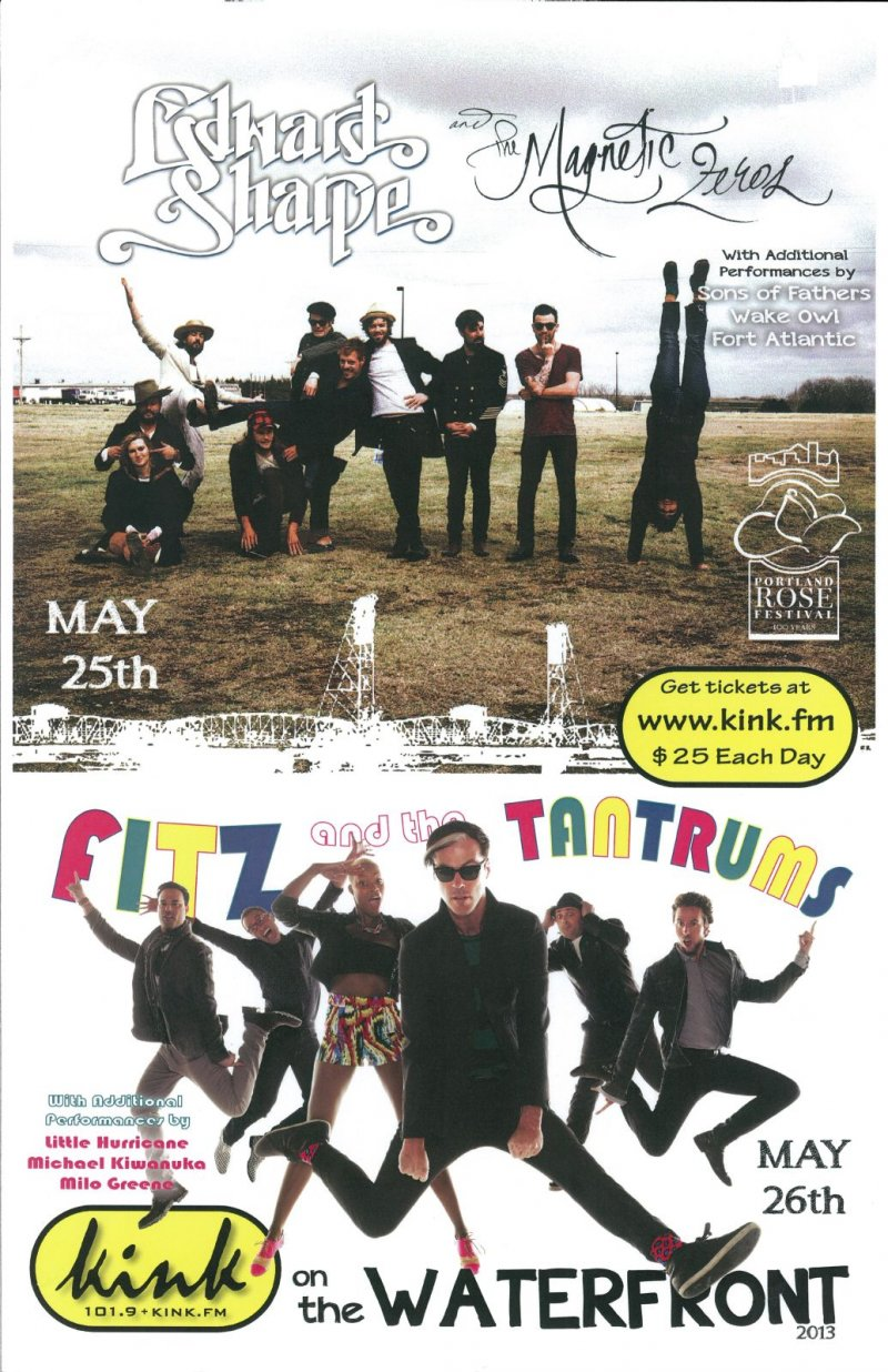 FITZ AND THE TANTRUMS   EDWARD SHARPE & MAGNETIC ZEROS POSTER 2013 Gig Portland