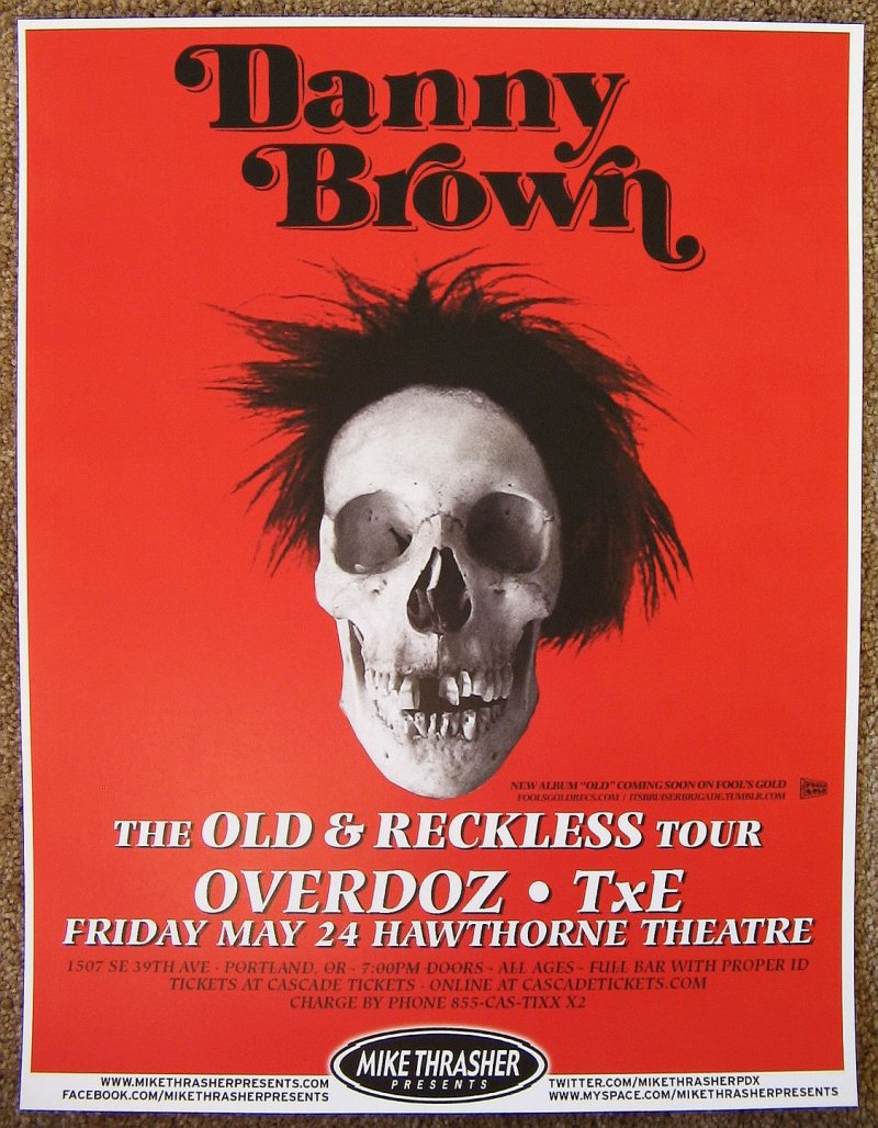 Brown DANNY BROWN 2013 Gig POSTER Portland Oregon Concert